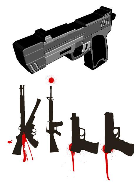 Relacionados con los militares - pistolas vector de material