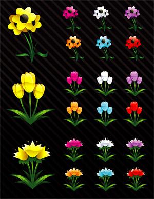 結晶の漫画のスタイルの花