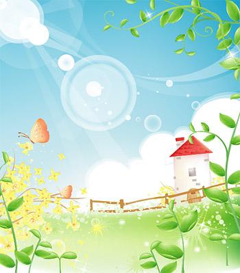 Vides materiales de verano paisaje vector
