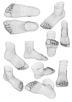 3D модель человеческой ноги векторный стиль материала
