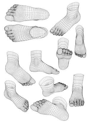 modelo 3D de pies humanos vector material de estilo