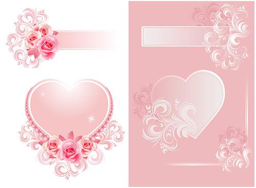 ทั้งสอง fantasy หัวใจที่มีรูปแบบเวกเตอร์วัสดุ