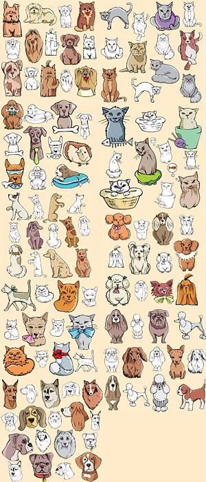 Вмещает стиле комиксов кошек и собак