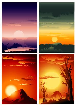 hermosos paisajes de la puesta de sol