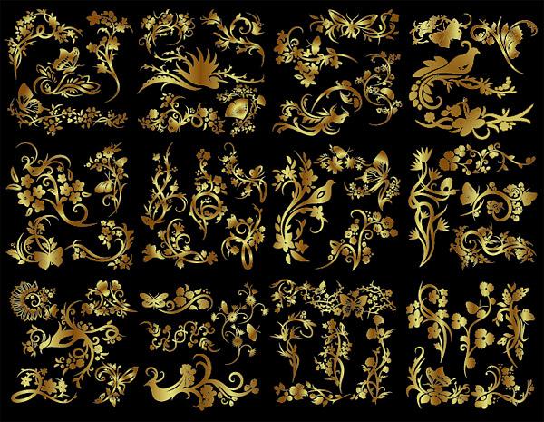 หมายเลขของดอกไม้ทองและลวดลายผีเสื้อนก
