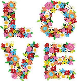 Coloridas flores, compuestas de material de vectores de amor