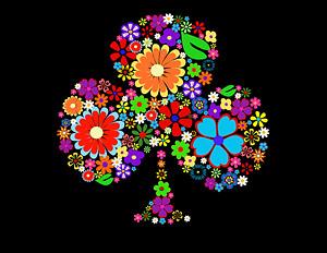 Coloridas flores, compuesta por el logotipo de flor de ciruelo