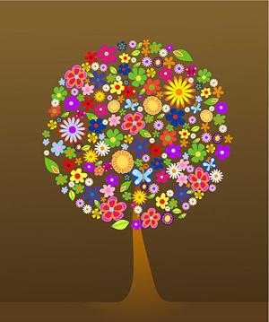 다채로운 꽃 나무의 구성
