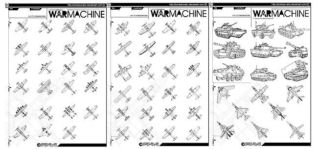 Línea de tanques y aviones de combate de dibujo