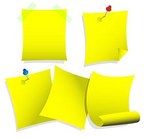 Notas de papel amarillo de vectores de material