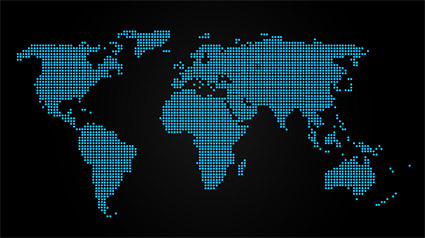 สีฟ้าจุดแผนที่ของวัสดุเวกเตอร์ของโลก