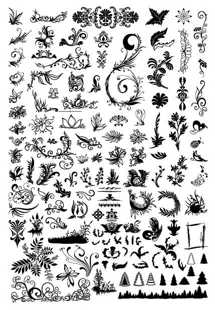 Сотни моделей, насекомых, деревья и другие материалы, вектор
