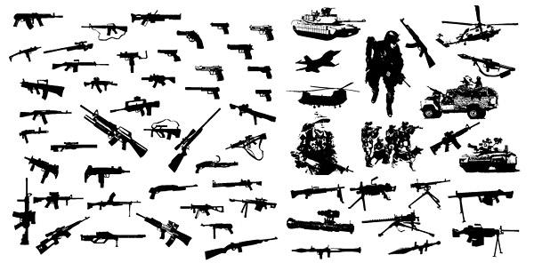 近代兵器と機器のベクター素材