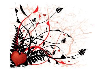 En forme de cœur et de plantes