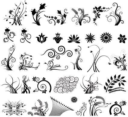 Varias prácticas patrones en blanco y negro