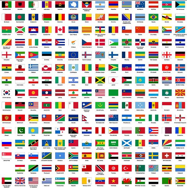 平面の国で、世界の国旗と地域の旗
