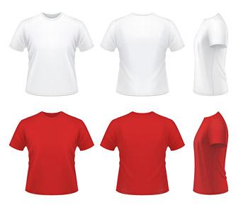 लाल और सफेद टी शर्ट