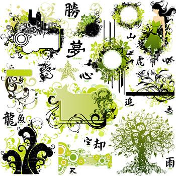 Frühling-Mode-Muster-Vektor-material