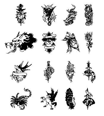Tótem de tatuaje de blanco y negro