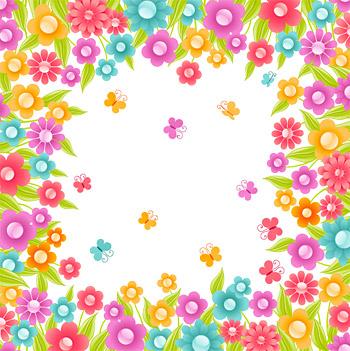 다채로운 꽃 벡터 작은 크리스탈 소재