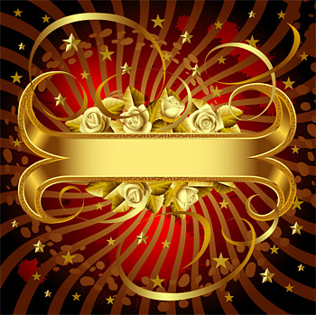 ホワイト ローズとゴールドのバナーのベクター素材