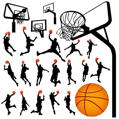 Silhouettes de la figure de basket-ball et de Lan Qiujia