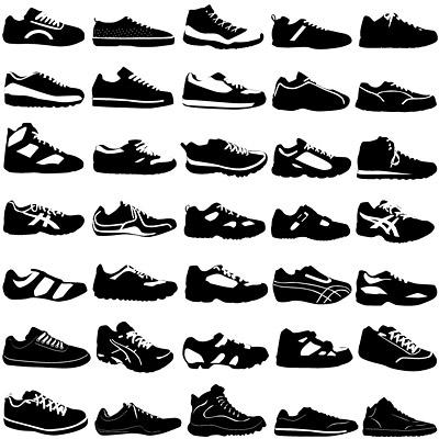 Preto-e-branco vários esportes sapatos