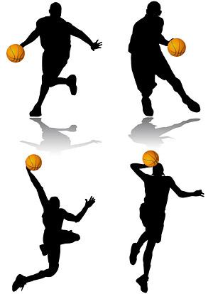 बास्केट बॉल कार्रवाई आंकड़ा silhouettes सामग्री वेक्टर