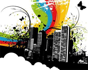 Ciudad color vector material-2