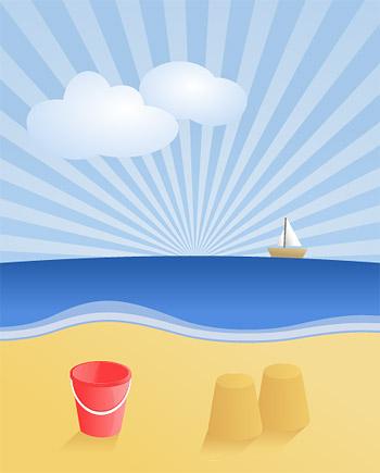 夏のビーチ風景ベクトル材料