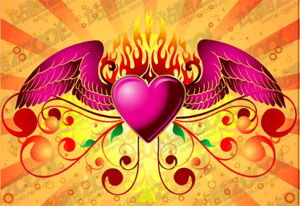 Asas de material chama de vetor de amor