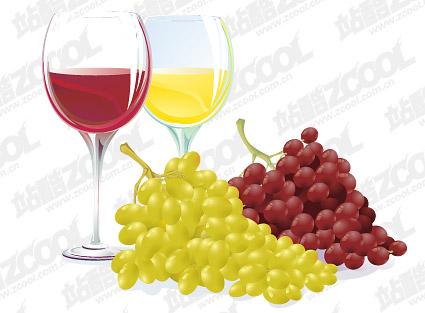 Vector de uva y vino de material
