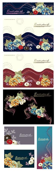 Matériau de vecteur de ligne mode et fleurs