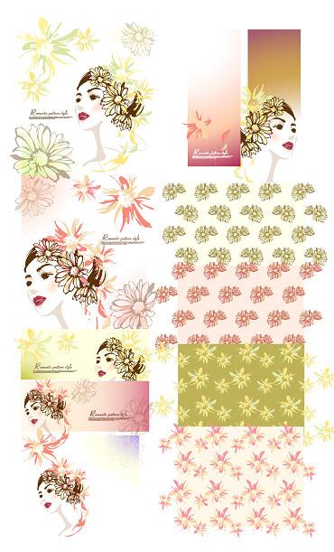 Mujeres con flores de material de vectores