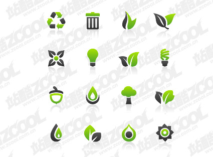 Зеленый золы сочетание простого значки