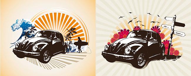 รถยนต์คลาสสิก retro ชุดรูปภาพประกอบ