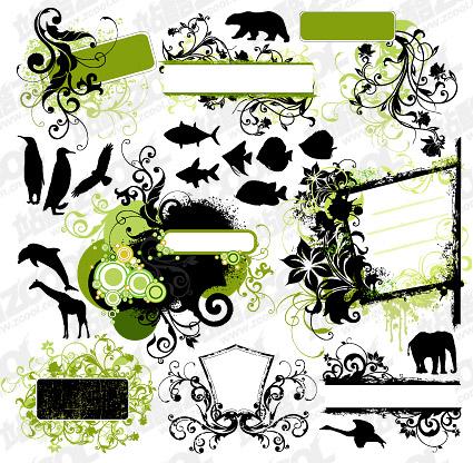 Patrones de moda y siluetas de animales