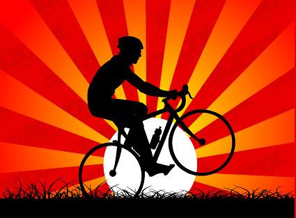 Coucher de soleil sous le cyclisme.
