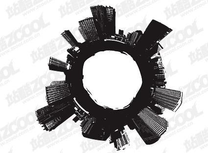 Material de vetor de cidade de preto e branco
