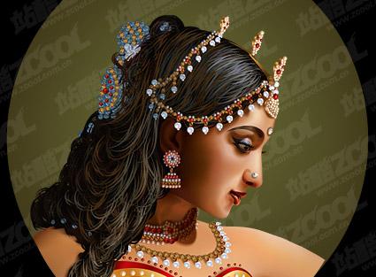Estilo realista de la belleza India estándar