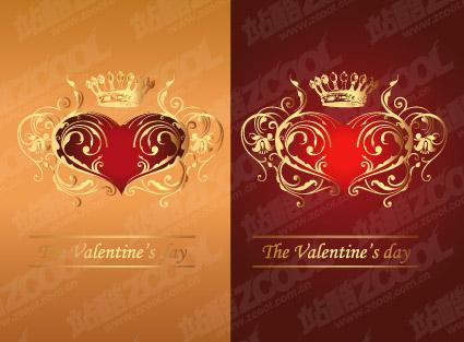 Corona de oro con el patrón en forma de corazón
