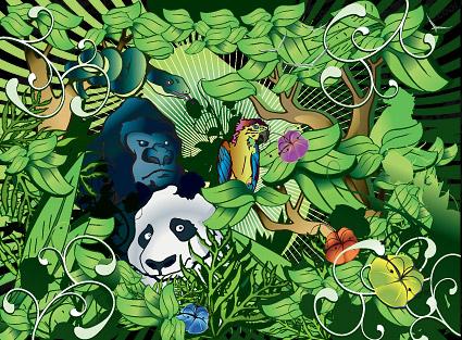 Animaux de la forêt dense