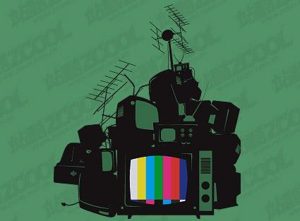 Tas de télévision du vecteur de matériel mis au rebut