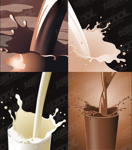 Material de vector café leche dinámico