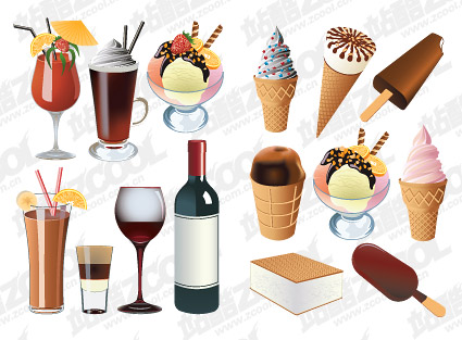 Мороженое и напитки векторный материал