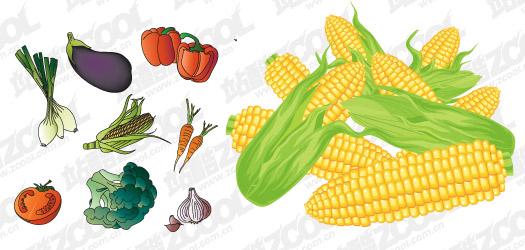Vector materiales común frutas y verduras