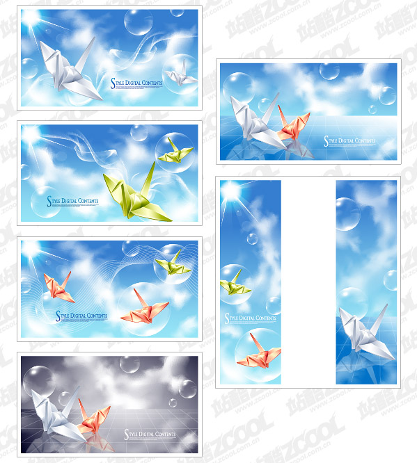 Vektor-Hintergrund-Kranichen und Fantasie-material