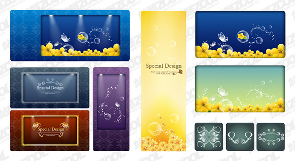 Papillons et des fleurs jaunes vecteur de matériau transparent