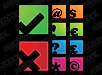 Símbolos simples cuadrados icono material de vectores