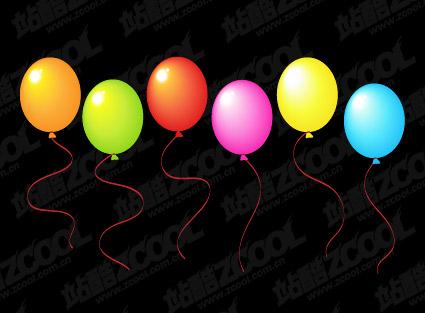 ناقل المواد من البالونات الملونة